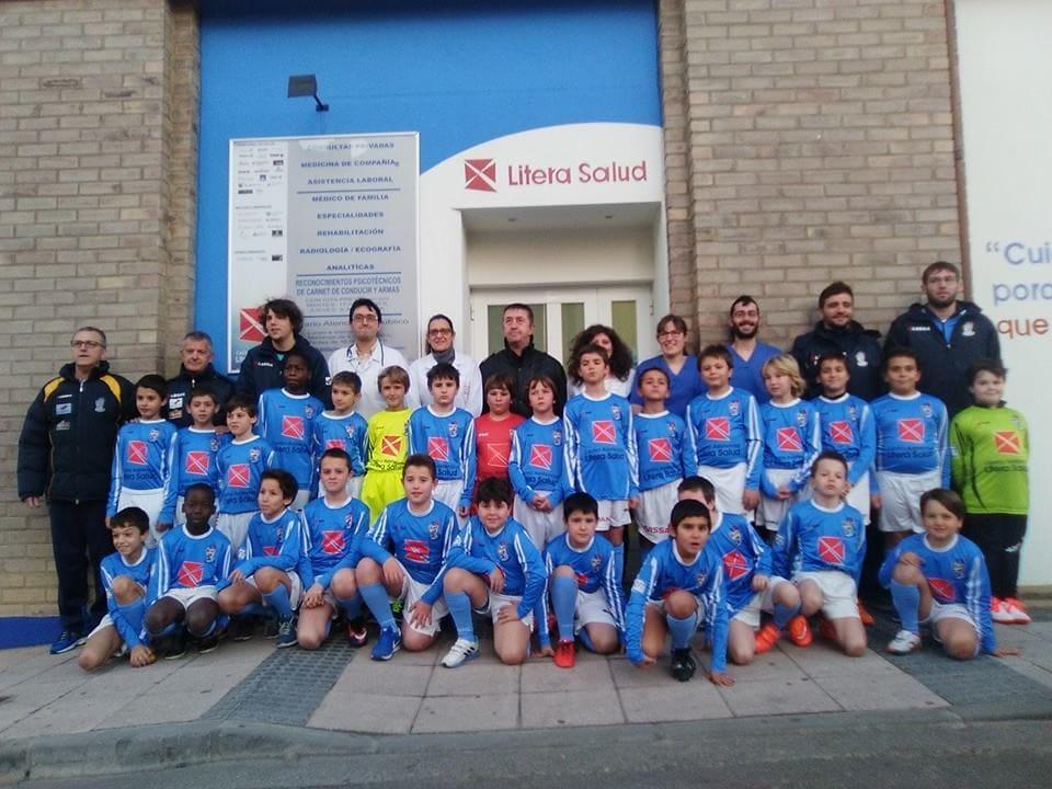 Litera Salud, patrocinador de los benjamines del Fútbol Base de Binéfar
